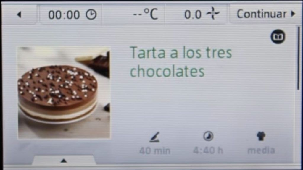 Pantalla Thermomix Tarta 3 Chocolates